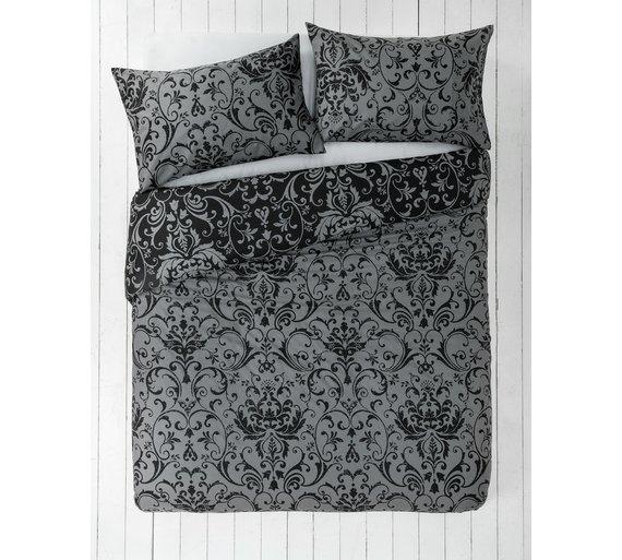 buy home black and grey damask bedding set single at. Black Bedroom Furniture Sets. Home Design Ideas