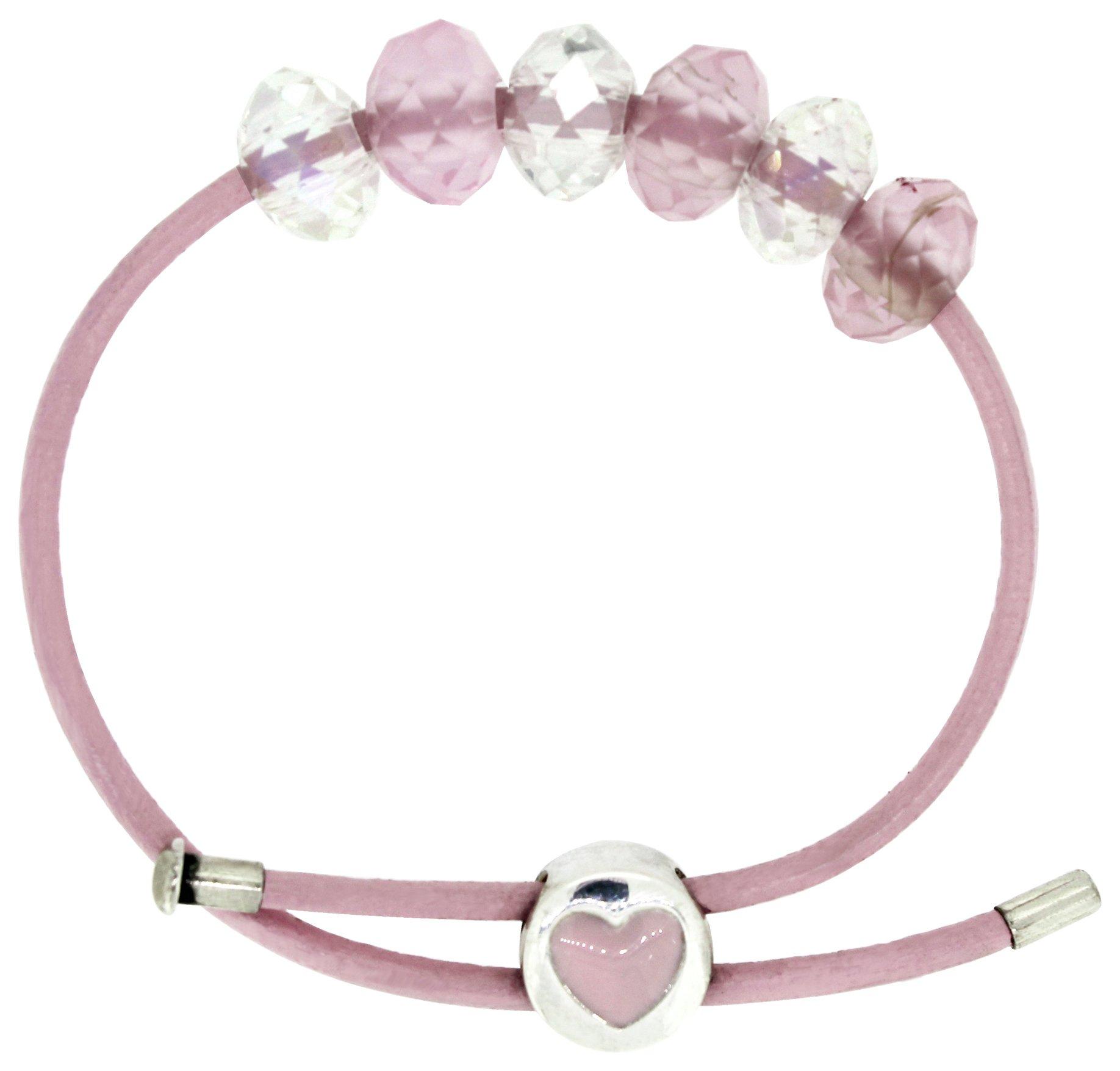 Miss Glitter S.Silver Kids Heart Clasp Made Up Pink Bracelet