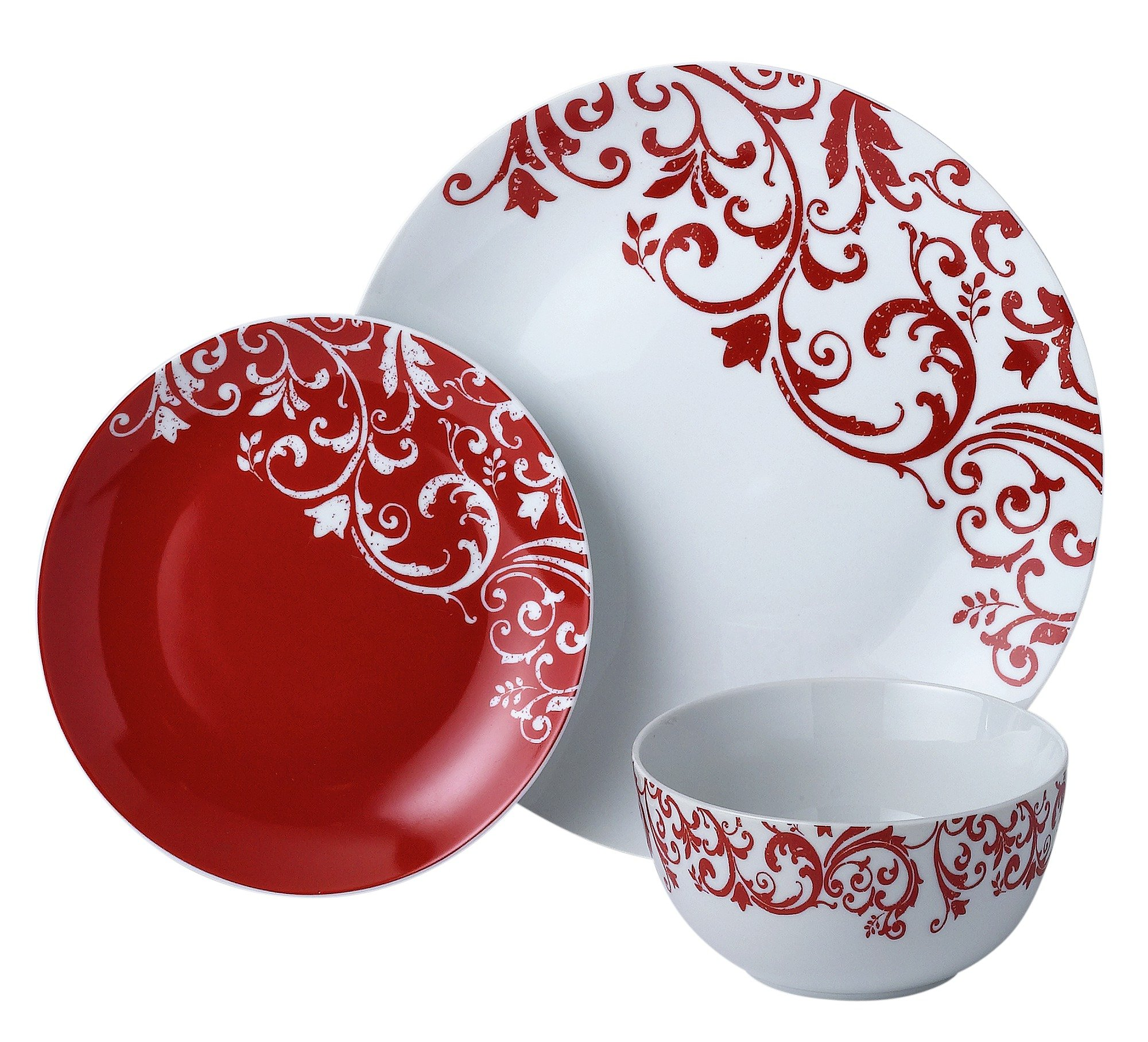 HOME 12 Piece Porcelain Damask Dinner Set   Red