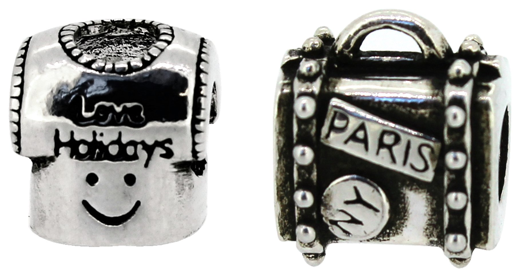 Miss Glitter S.Silver Kids Smiley Face and Suitcase Charms.