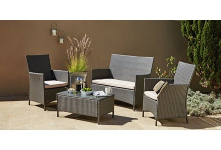 Image of the Collection Rattan Effect Grey 4 Seater Highback Sofa Set