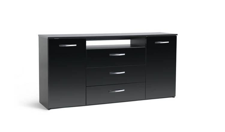 Habitat Hayward 2 Door 3 Drawer Sideboard - Black Gloss