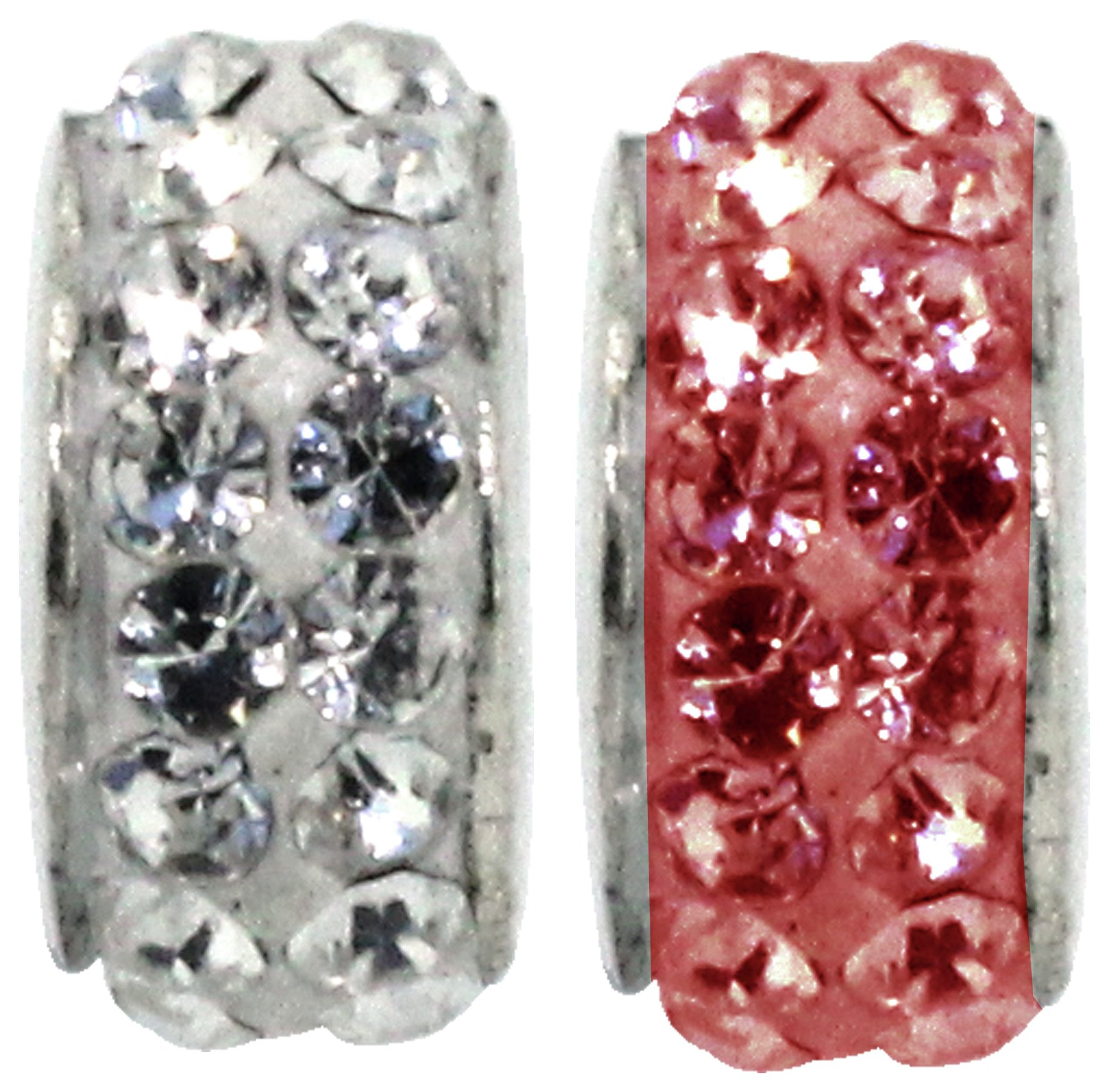 Miss Glitter S.Silver Kids Stone Set Clear and Red Charms.