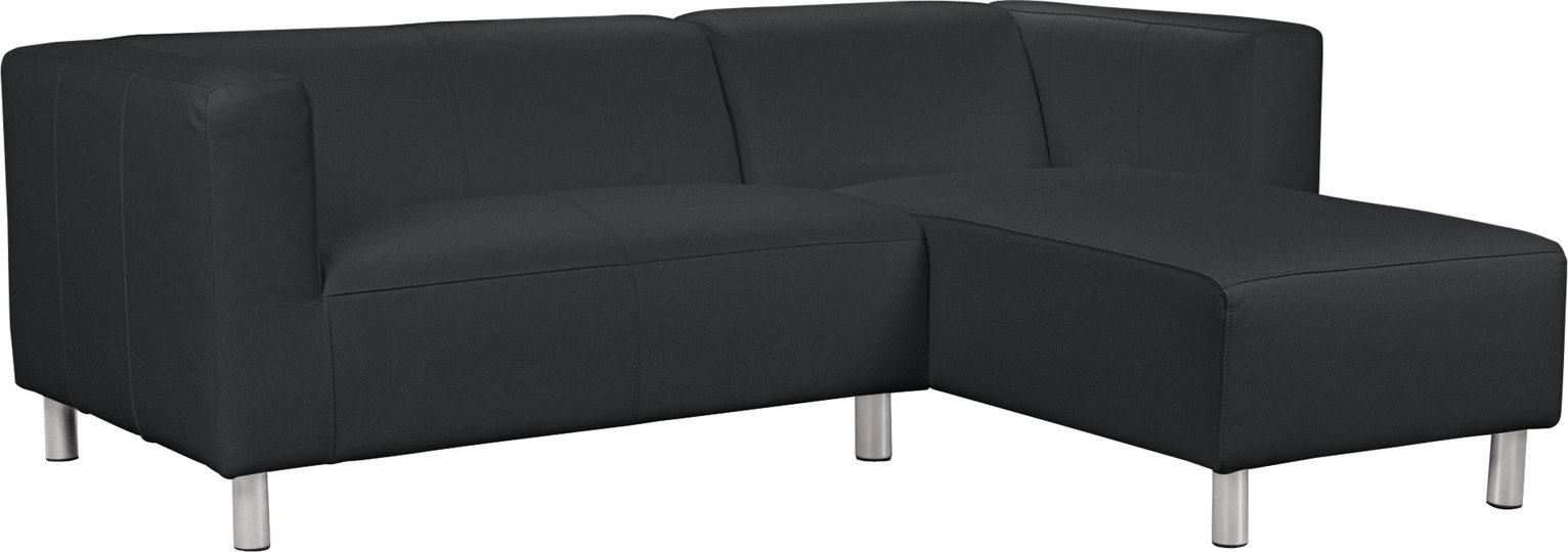 Argos Home Moda Right Corner Faux Leather Sofa - Black