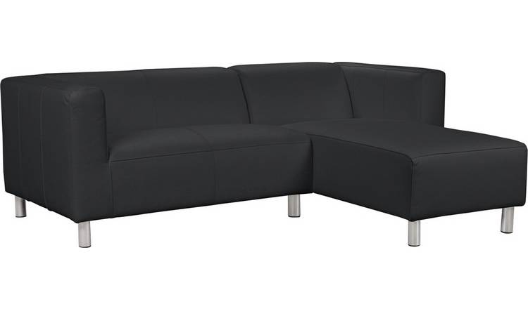 Habitat Moda Right Corner Faux Leather Sofa - Black
