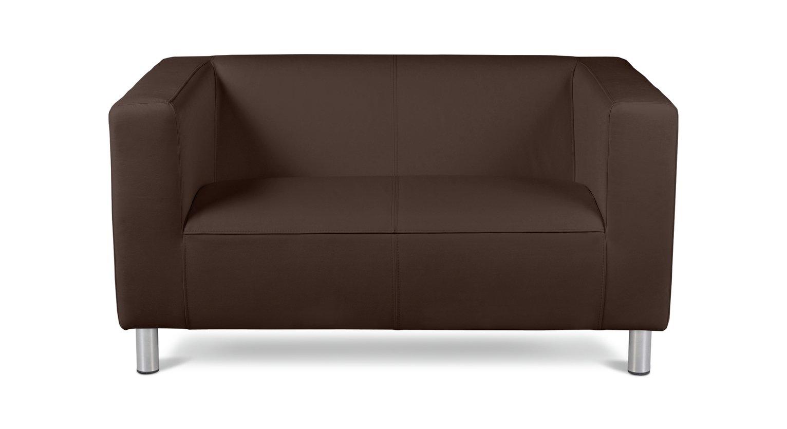 Habitat Moda Compact 2 Seater Faux Leather Sofa - Brown