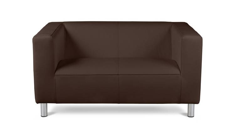Argos Home Moda Compact 2 Seater Faux Leather Sofa - Brown