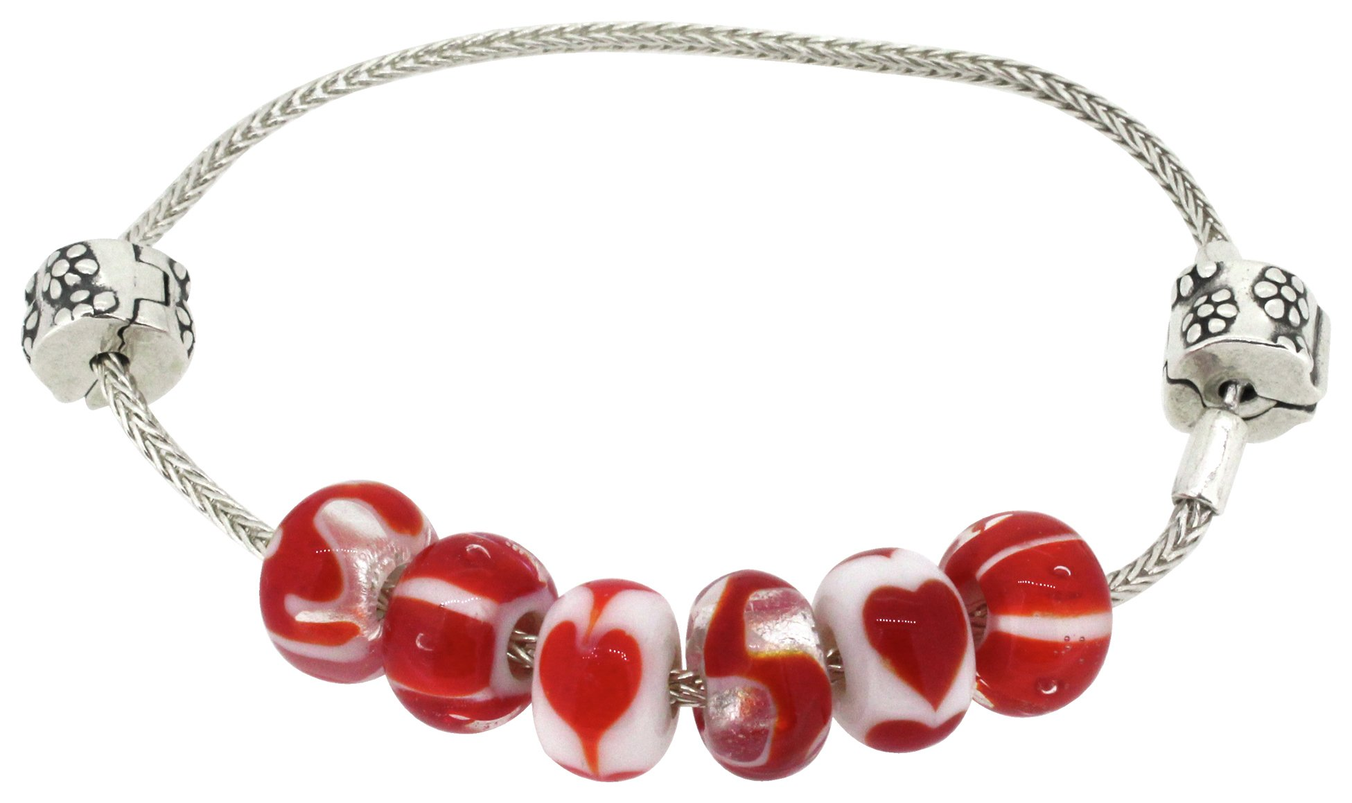 Miss Glitter Silver Made Up Red Bracelet with Stopper