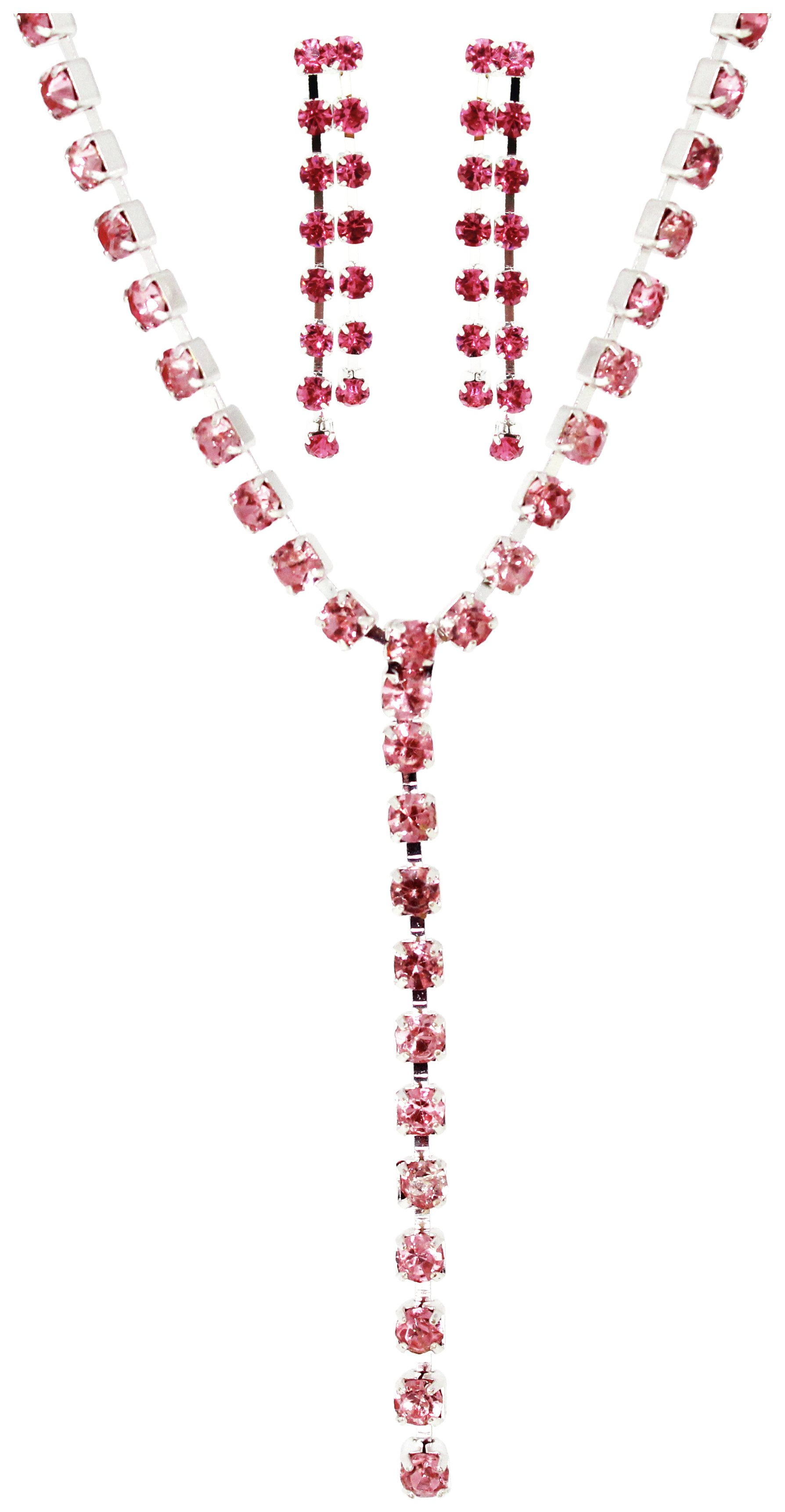 Image of Link Up - Diamante Pink Y Necklace and Earring Set.