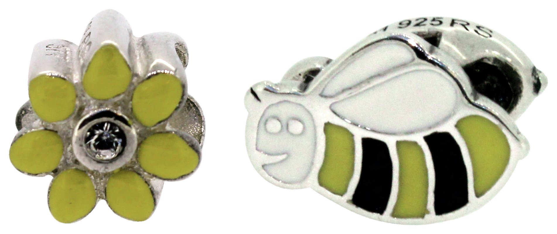 Miss Glitter Silver Kids Enamel Daisy and Bee Charms.