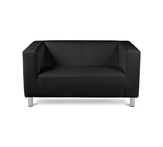 Buy Home Moda Compact 2 Seater Leather Effect Sofa Black