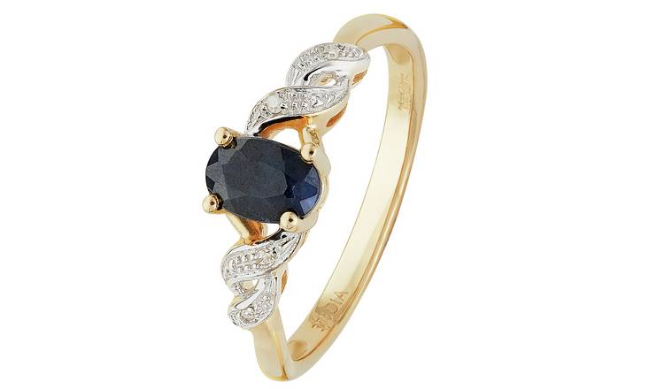 Revere 9ct Gold Oval Sapphire & Diamond Accent Ring - H
