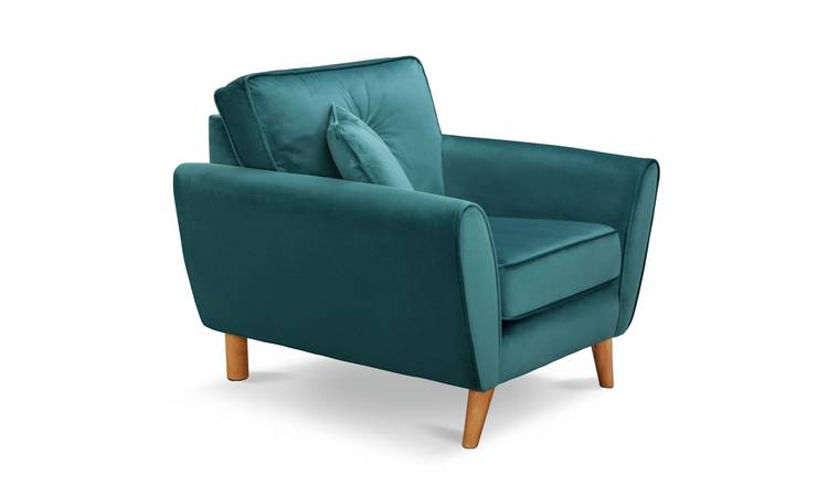 Buy Argos Home Isla Velvet Armchair - Teal | Armchairs and ...