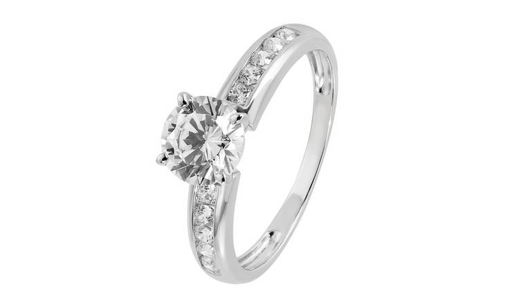 Revere 9ct White Gold Cubic Zirconia Shoulder Set Ring - M