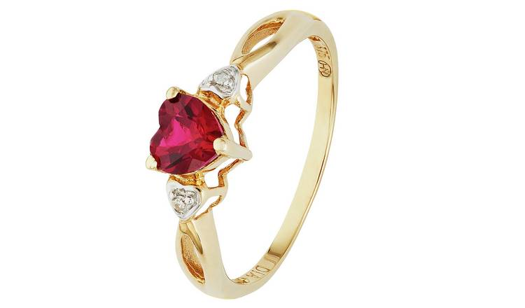 Revere 9ct Gold Ruby and Diamond Accent Heart Ring - T