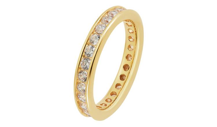 Revere 9ct Gold Plated Cubic Zirconia Full Eternity Ring - L
