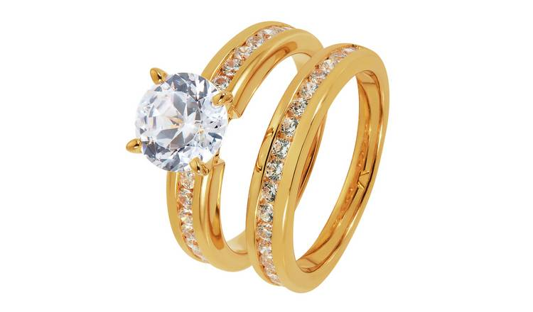 Revere Gold Plated Silver Cubic Zirconia Bridal Ring Set - U