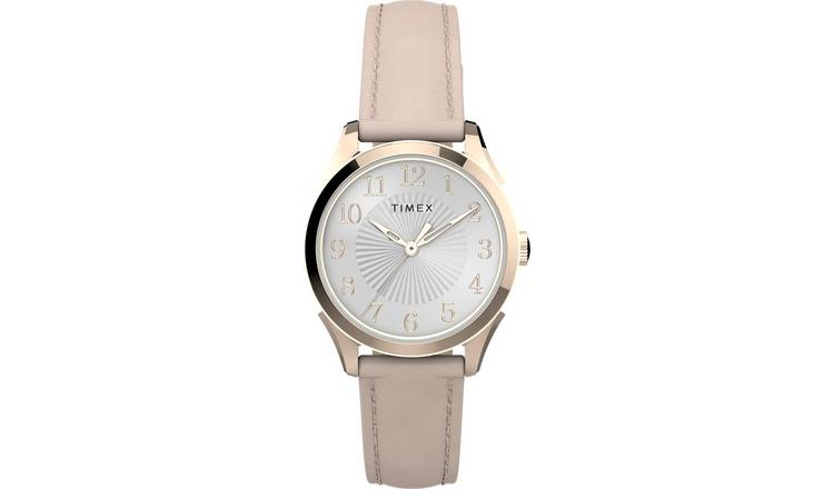 Timex Ladies Pink Leather Strap Watch