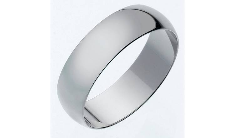 Revere 9ct White Gold Heavy Message Wedding Ring - 6mm - X