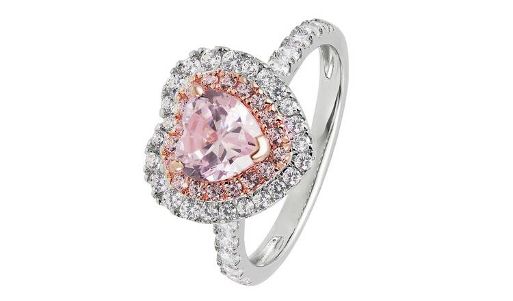 Revere 9ct Rose Gold Plated Cubic Zirconia Halo Ring - N