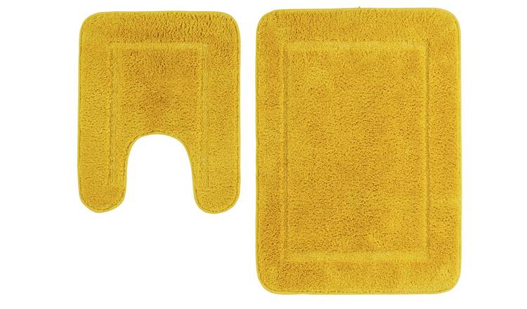 Argos Home Bath and Pedestal Set - Mustard