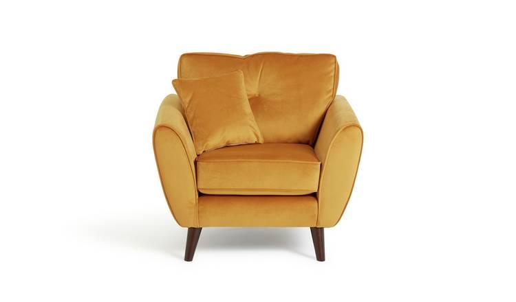Buy Argos Home Isla Velvet Armchair - Gold   Armchairs and ...