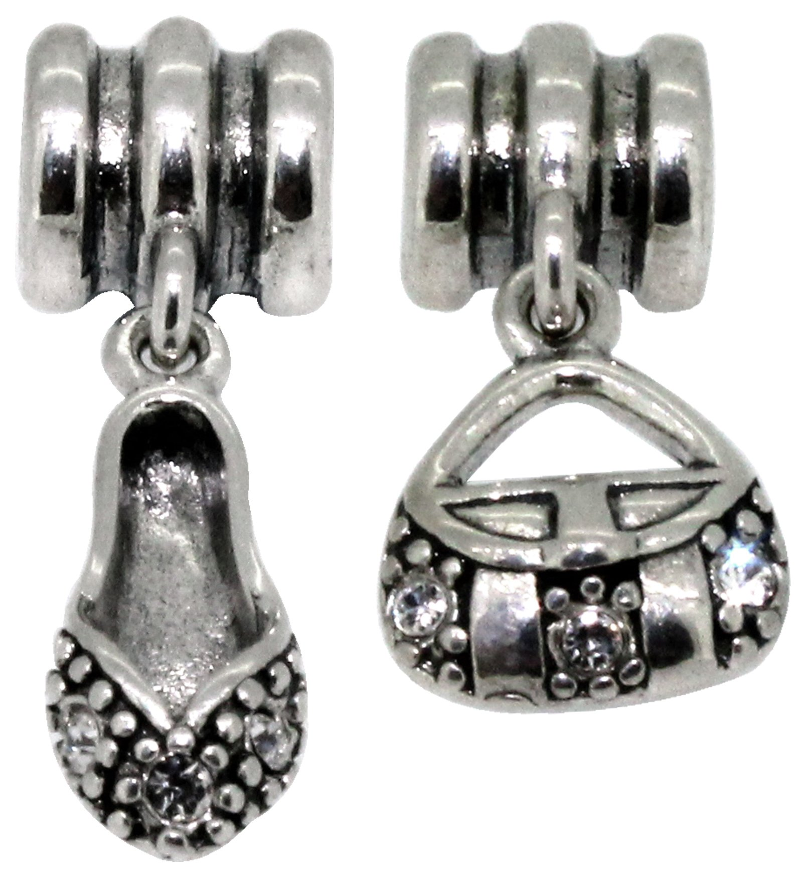 Miss Glitter Sterling Silver Kids Bag and Shoe Drop Charms.