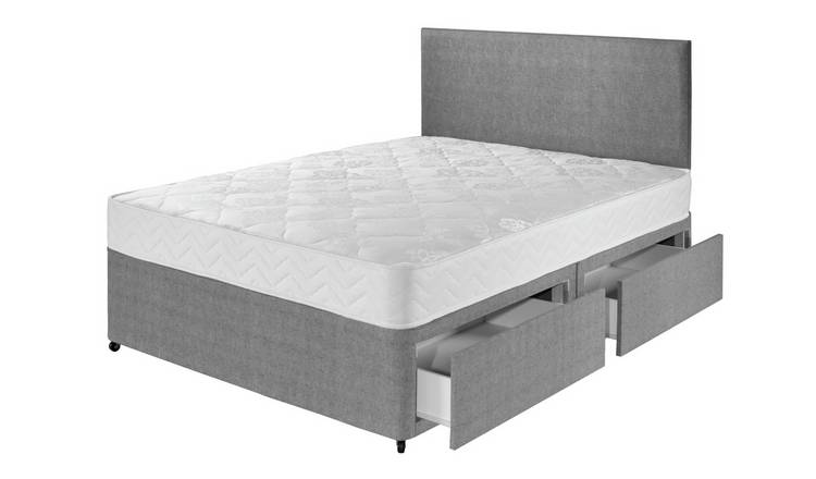 Argos Home Elmdon Comfort 4 Drawer Double Divan Bed - Grey