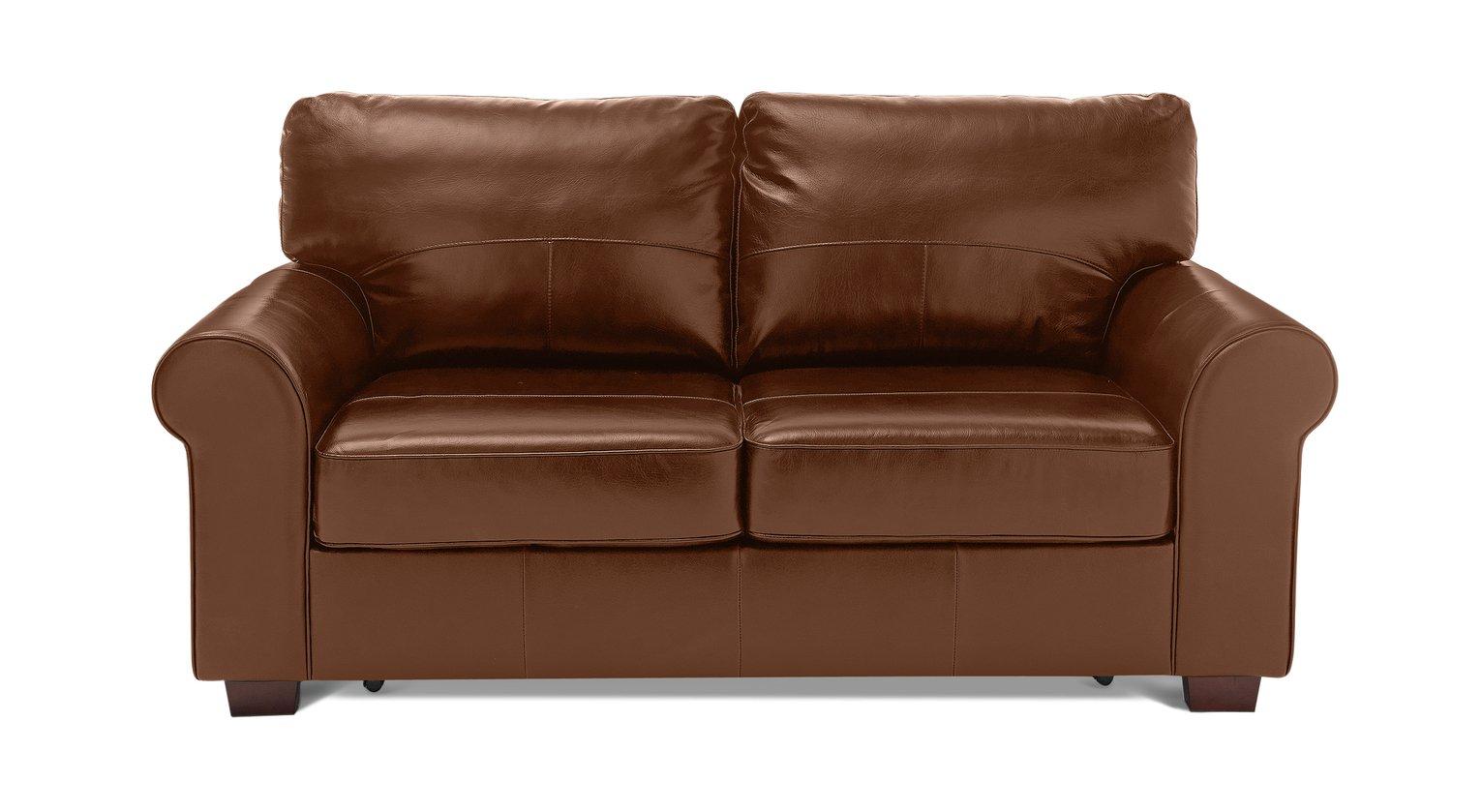 Habitat Salisbury 2 Seater Leather Sofa Bed - Tan