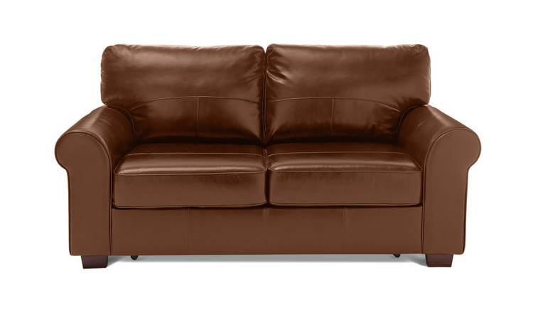 Habitat Salisbury 2 Seater Leather Sofa Bed - Tan