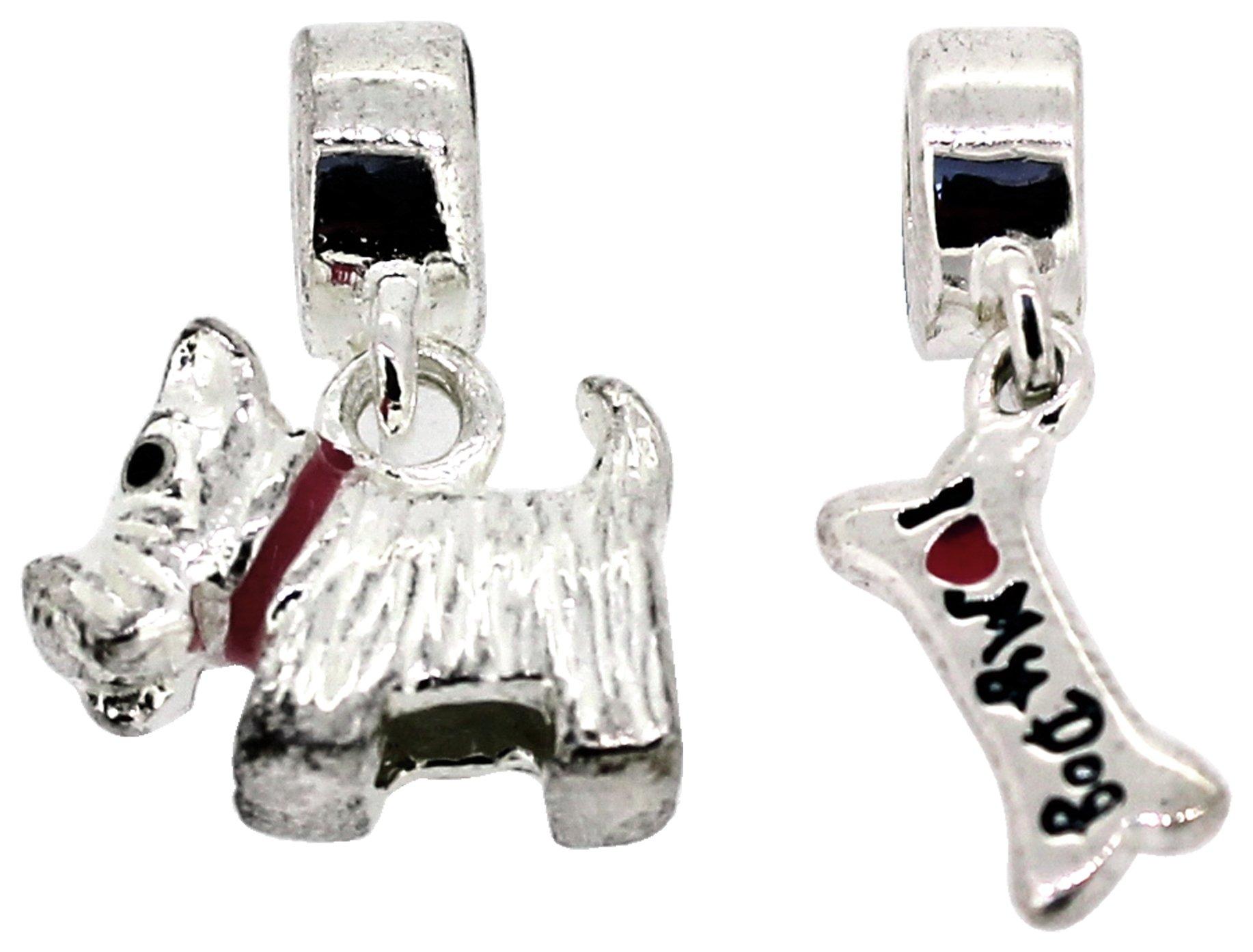 Miss Glitter S.Silver Kids Bone and Scott Dog Drop Charms.