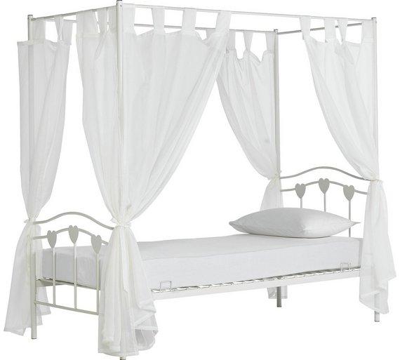 e389c8d934e5a Buy Argos Home Hearts White Single 4 Poster Bed Kids Mattress