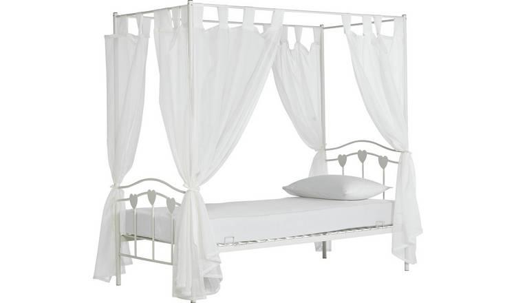 e42f0ec7f307f Buy Argos Home Hearts White Single 4 Poster Bed   Kids Mattress ...