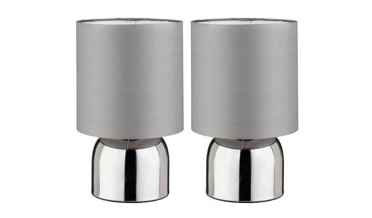 Argos Home Pair of Touch Table Lamps - Flint Grey and Chrome