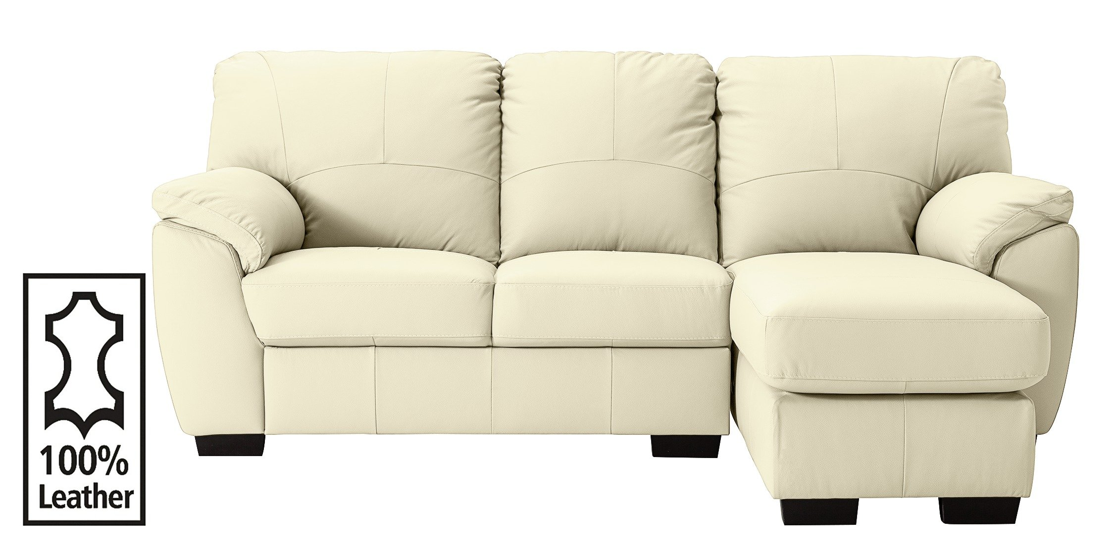 Collection milano leather right chaise longue sofa ivory for Argos chaise longue