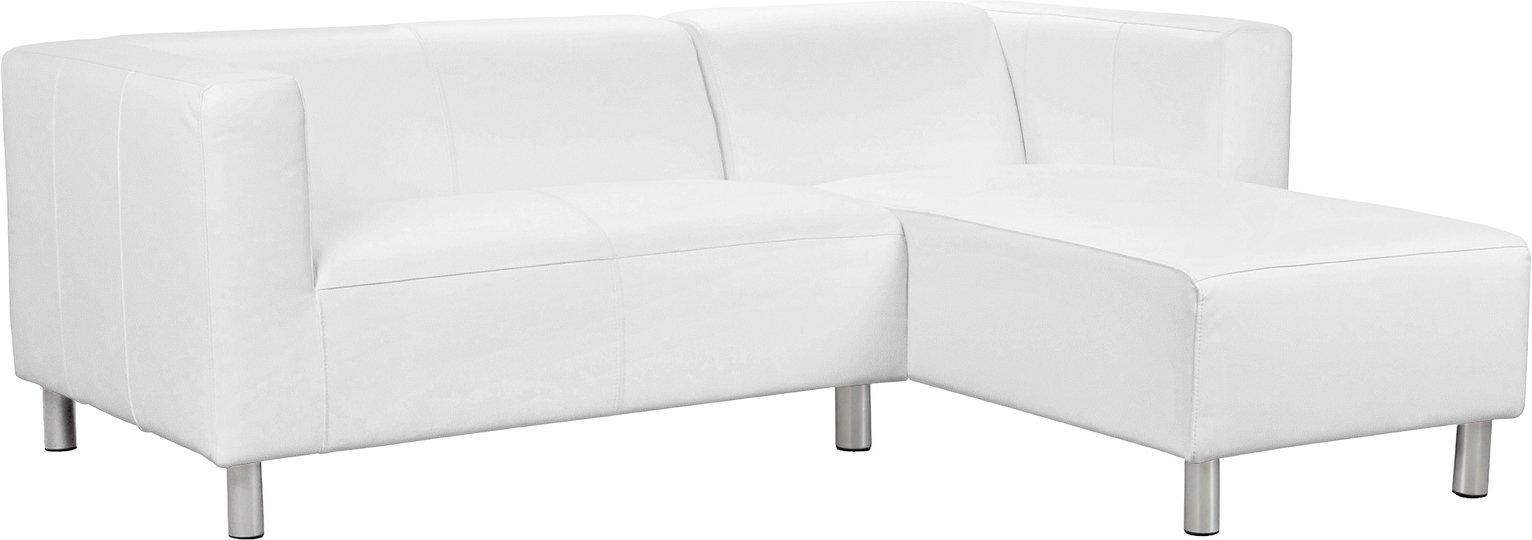 Argos Home Moda Right Corner Faux Leather Sofa - White