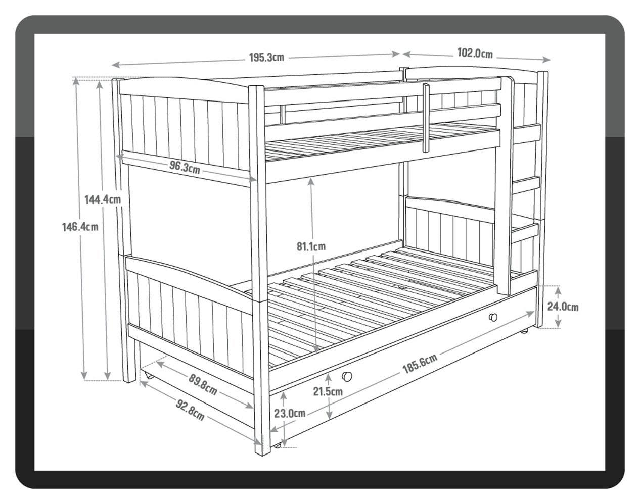 Image of Detachable Bunk Bed with Storage and Ashley Mattress - Pine