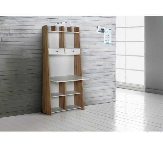 Buy Auckland Wall Unit Desk White And Oak Effect At