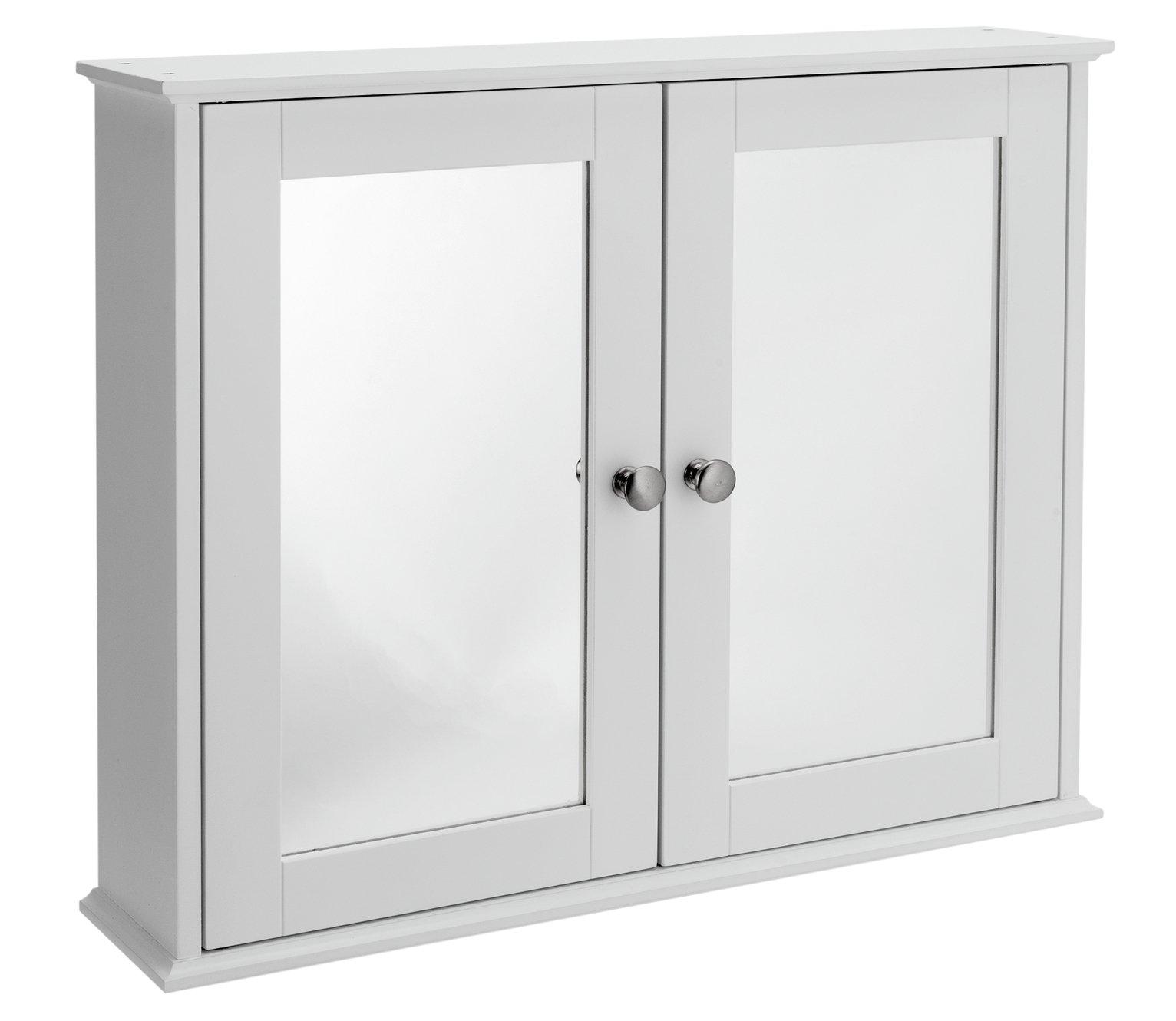 home mirror 2 door core cabinet  white.