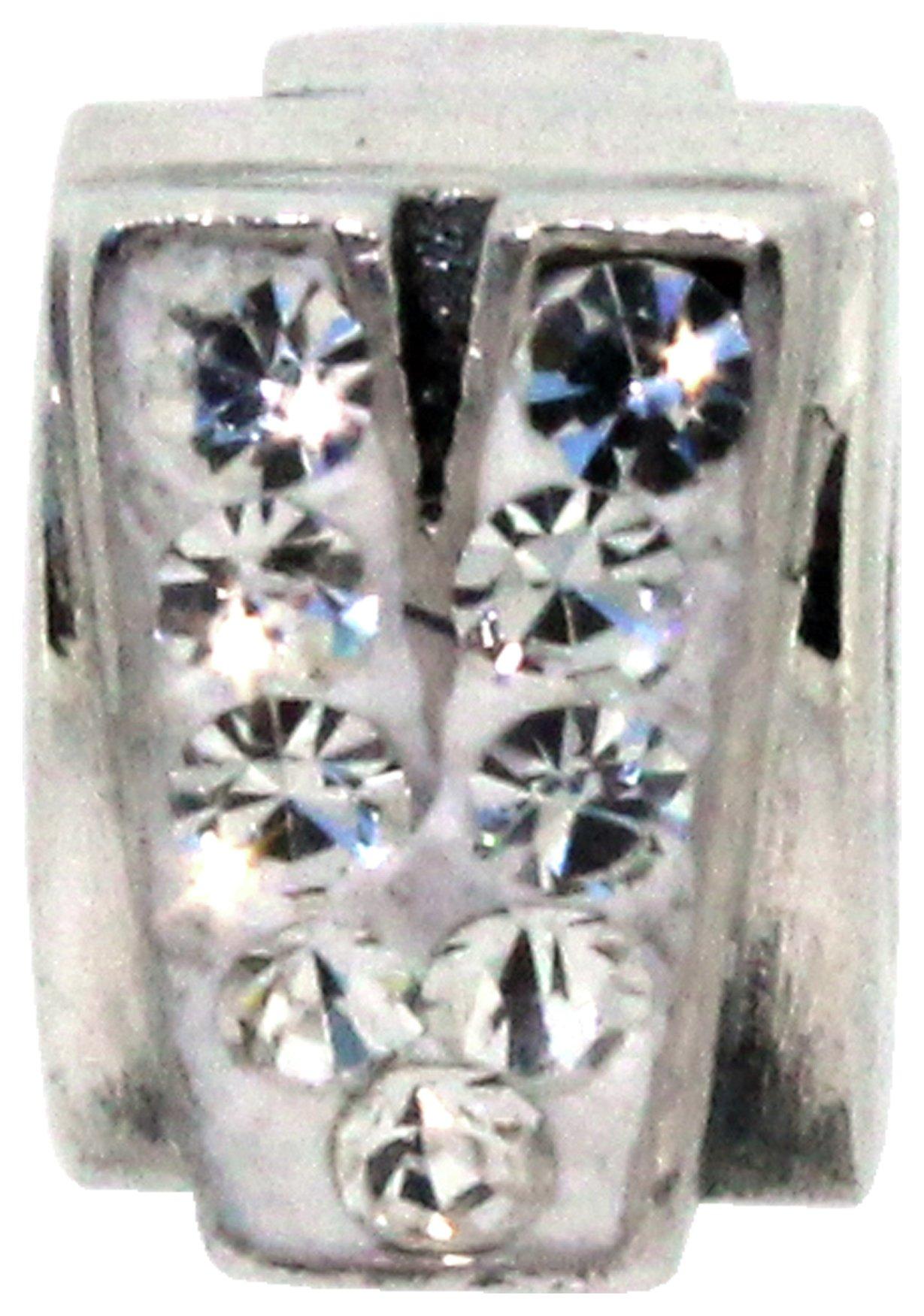 Miss Glitter S.Silver Kids Stone Set Alphabet Charm - V.