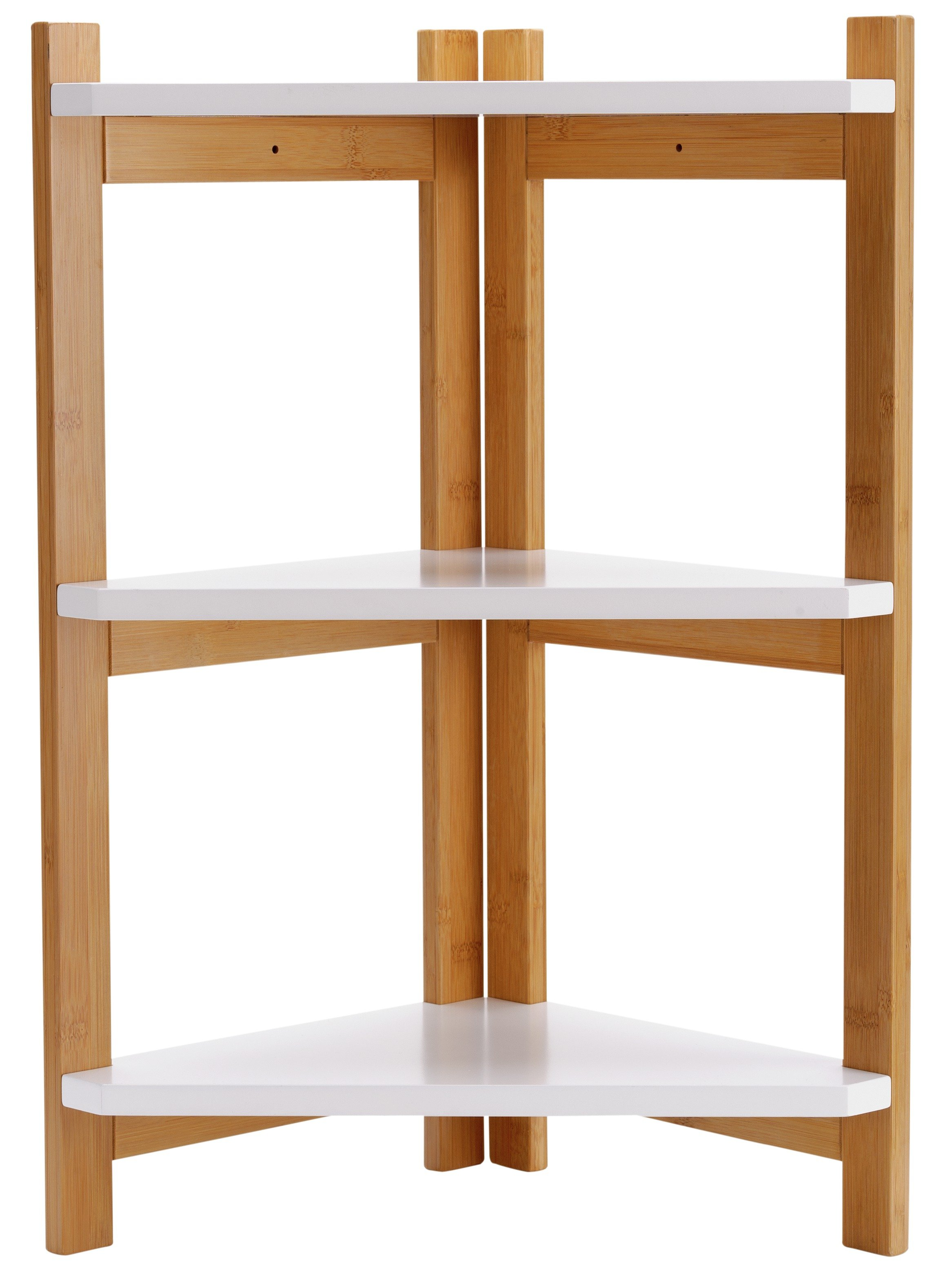 Image of Collection 3 Tier Bamboo Corner Shelf Unit - Two Tone