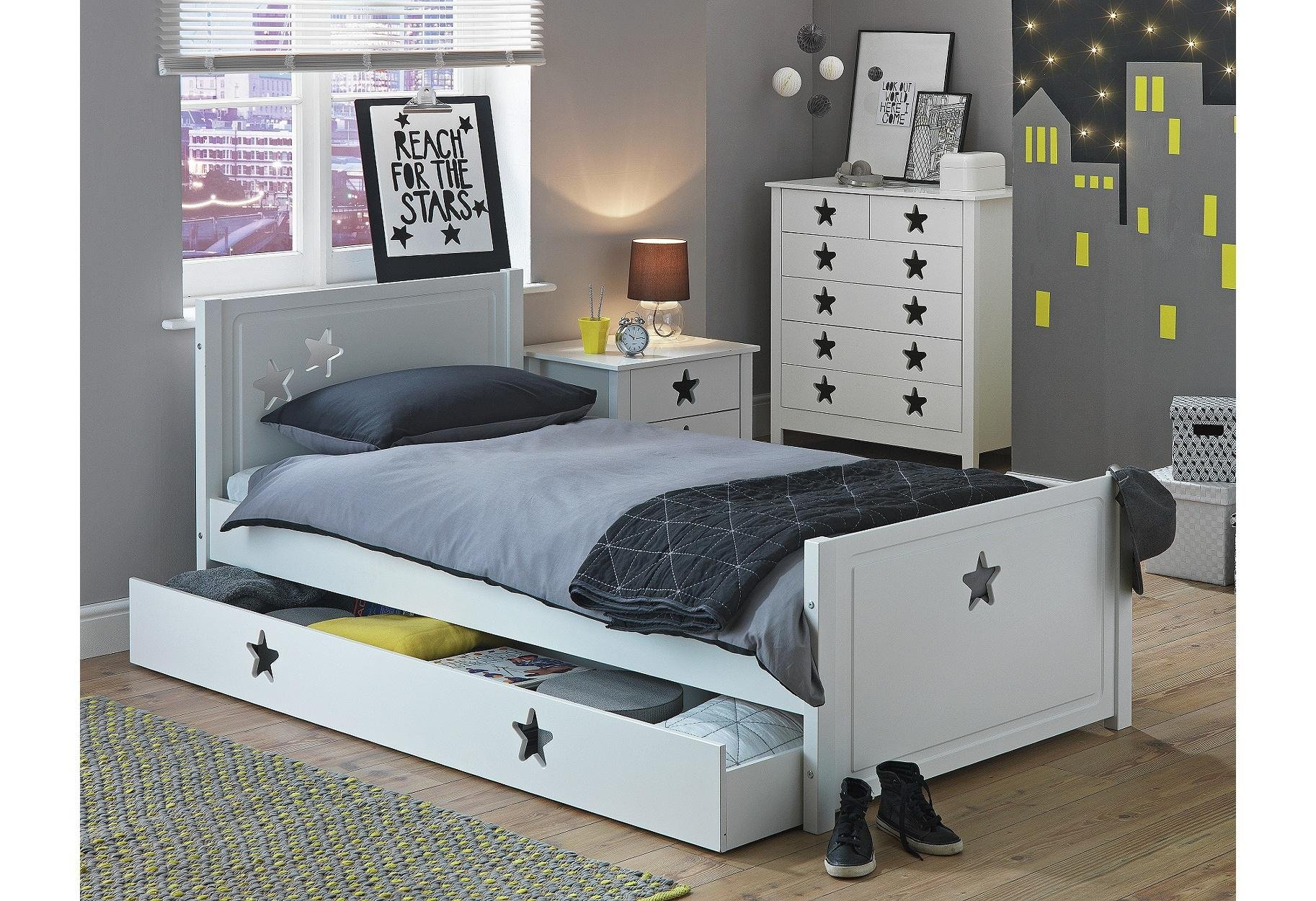 Buy Collection Stars Single Bed With Drawer White At