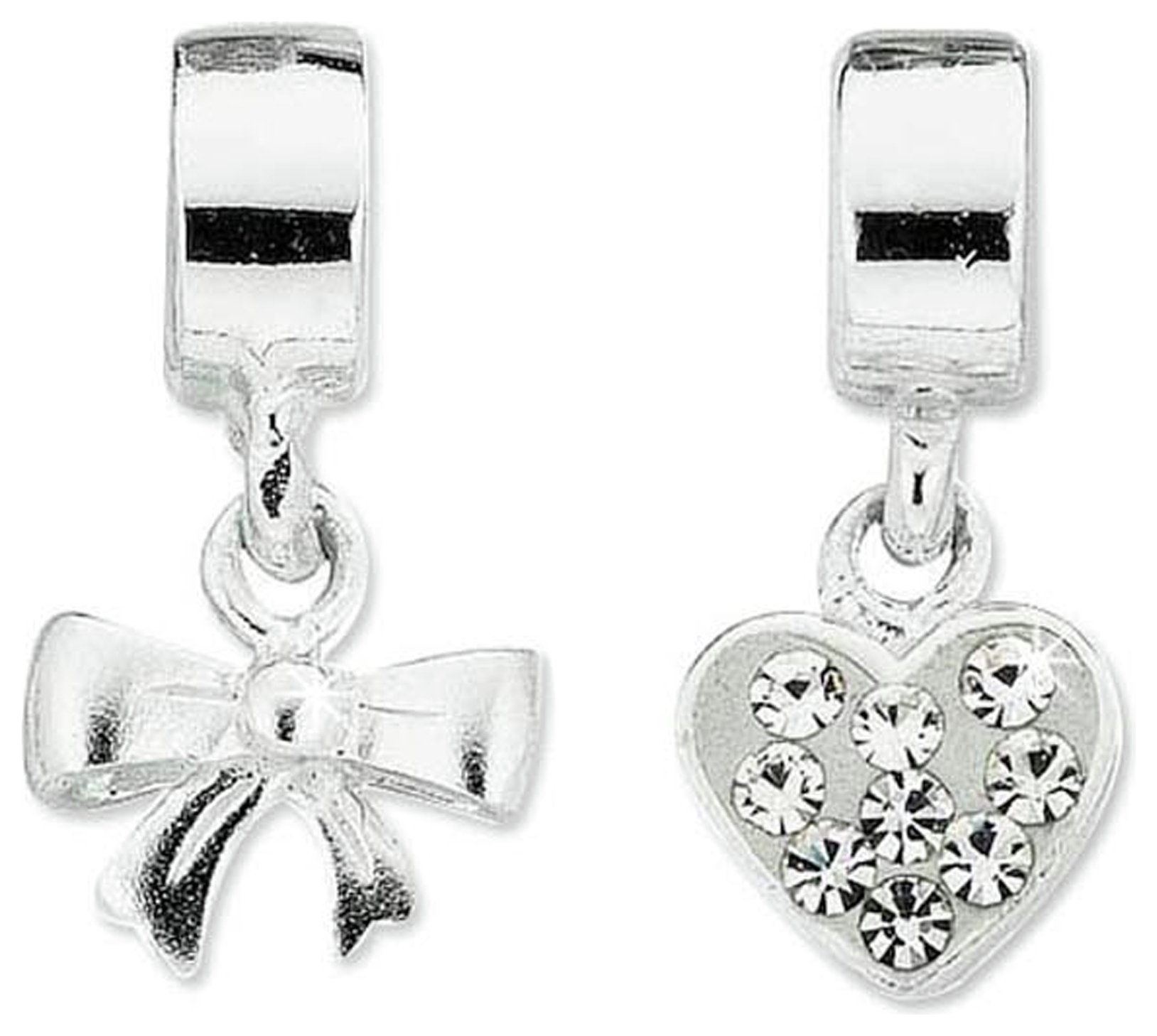 Miss Glitter Sterling Silver Kids Heart and Bow Drop Charms.