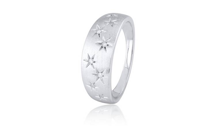 Revere Sterling Silver 0.05ct tw Diamond Star Ring - M