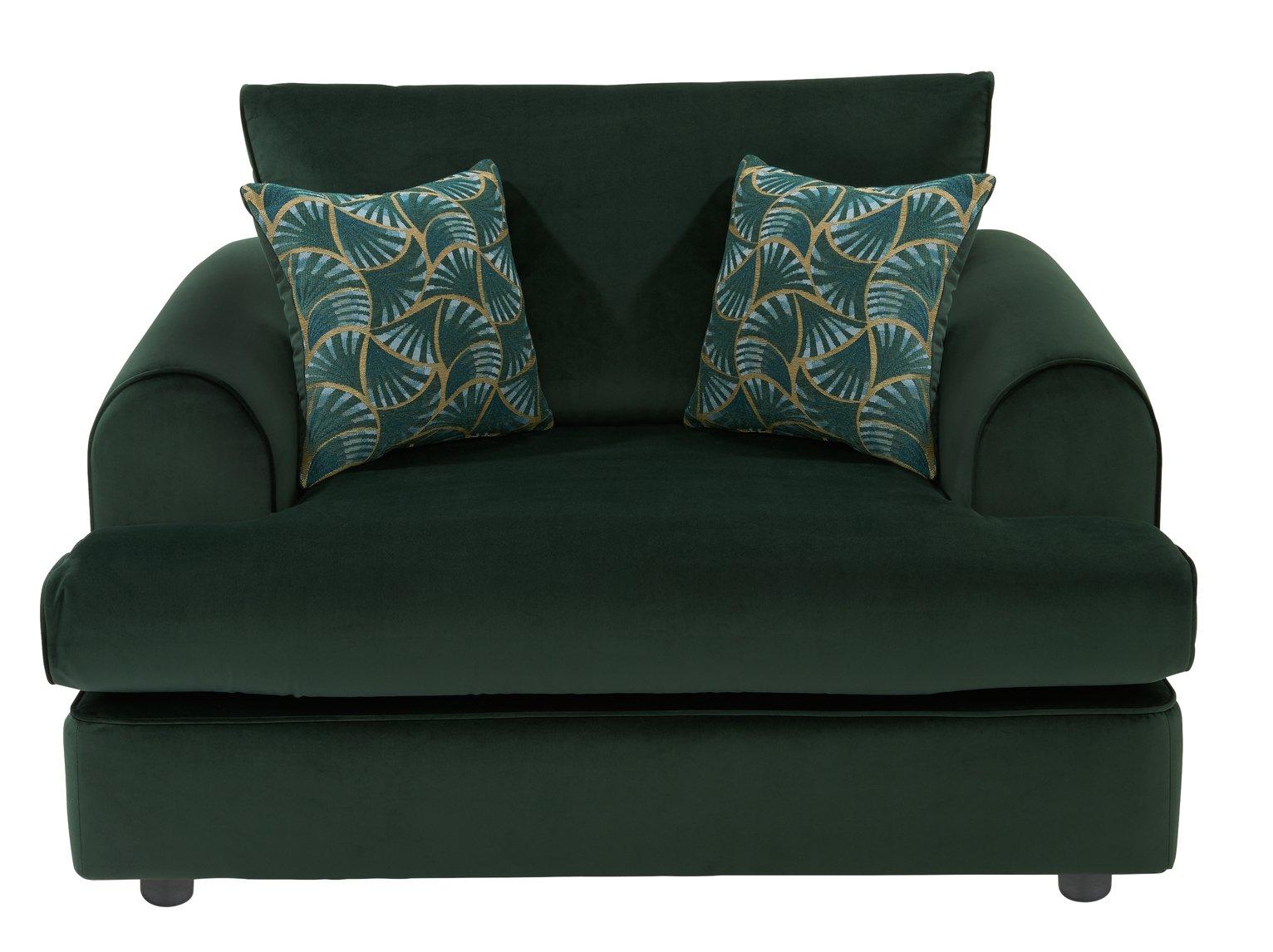 Argos Home Atticus Velvet Cuddle Chair - Green