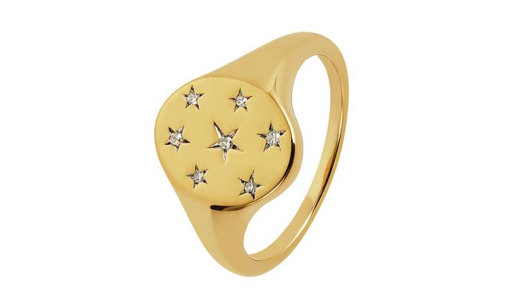 Revere 9ct Gold Plated 0.04ct tw Diamond Star Ring - U