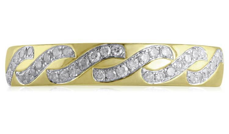 Revere 9ct Gold 0.18ct tw Diamond Wave Band Ring - O