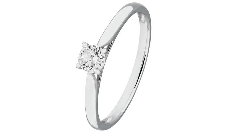 Revere 9ct White Gold 0.25ct Diamond Solitaire Ring - T