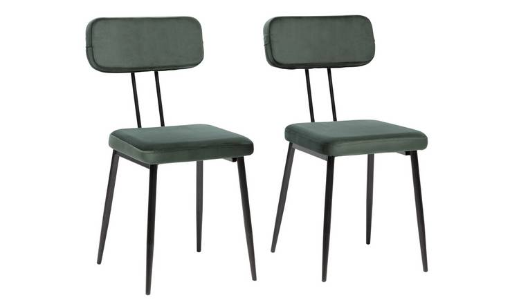 Argos Home Beatrice Pair of Velvet Dining Chairs - Green