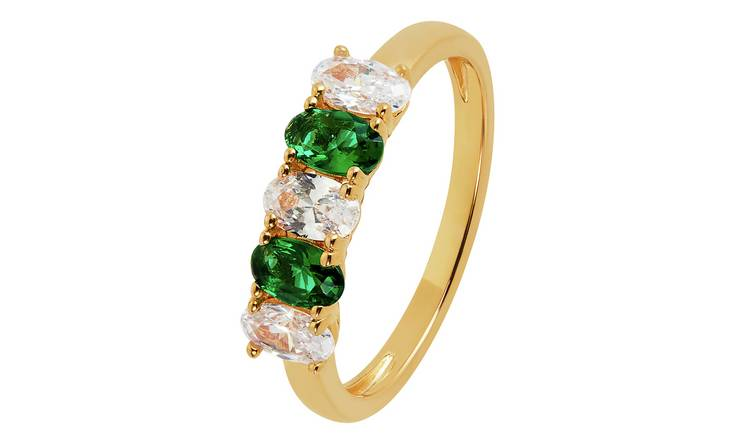 Revere 9ct Gold Plated Cubic Zirconia 5 Stone Ring - K
